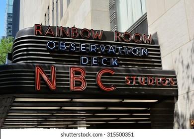 New York City, USA - September 7, 2015: Sign for NBC Studios at 30 Rockefeller Center in Midtown Manhattan in New York City.