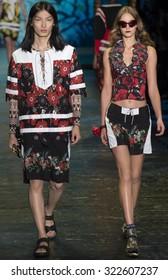 New York City, USA - September 16, 2015: Zhengyang Zhang walks the runway at the Anna Sui fashion show during the Spring Summer 2016 New York Fashion Week at The Arc at Skylight Moynihan Station