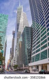 NEW YORK CITY, USA - SEPTEMBER 27, 2015: Bank of America Tower in New York City, USA