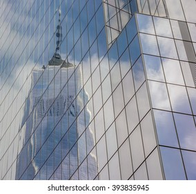 NEW YORK CITY, USA - SEPTEMBER 28, 2015: Reflection of the Freedom Tower in New York City, USA
