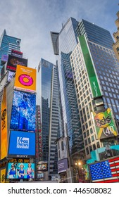 NEW YORK CITY, USA - SEPTEMBER 27, 2015: Bright lights and skyscrapers at Times Square, Manhattan