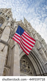 NEW YORK CITY, USA - SEPTEMBER 27, 2015: American flag at St. Patricks cathedral in New York City, USA