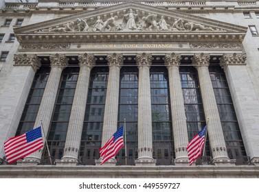 NEW YORK CITY, USA - SEPTEMBER 28, 2015: Facade of the New York Stock Eschange at wall street, USA
