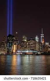 NEW YORK CITY, USA, September 11, 2017 : Two huge blue lights in the sky of Manhattan are a tribute to the twin towers during 16th anniversary memorial ceremony of 9/11 attacks.