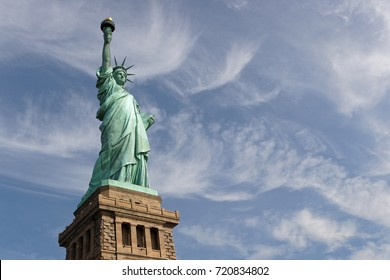NEW YORK CITY, USA, September 12, 2017 : Statue of Liberty, a colossal sculpture on Liberty Island, gift from France to the United States, was designed by French sculptor Bartholdi and built by Eiffel