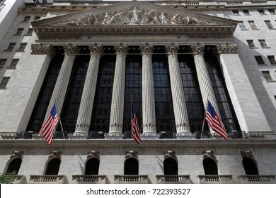 NEW YORK CITY, USA, September 12, 2017 : Wall Street in the Financial District of Lower Manhattan.Over time, the term has become a metonym for the financial markets.
