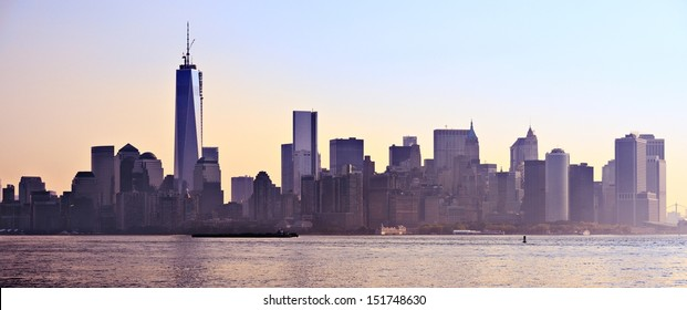 New York City, USA silhouetted panorama skyline.