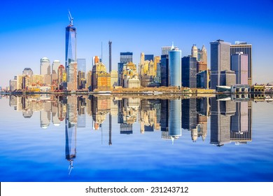 New York City, USA city skyline of Lower Manhattan.