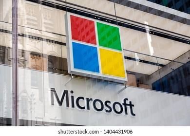 New York City, New York - USA United States - 04 08 2019: Microsoft logo close up. Microsoft Flagship Store Fifth Avenue, Manhattan, NYC.