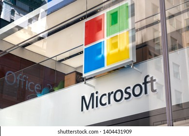 New York City, New York - USA United States - 04 08 2019: Microsoft logo close up. Microsoft Flagship Store Fifth Avenue, Manhattan, NYC.