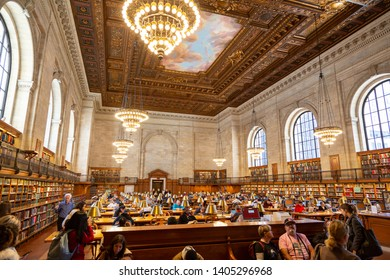 New York City, New York / USA United States - 04 08 2019: New York Public Library interior. Stephen A. Schwarzman Building in Fifth Avenue, Manhattan, NYC.