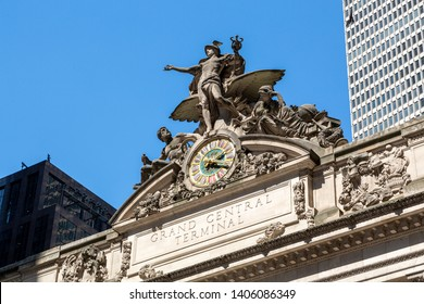 New York City, New York / USA United States - 04 08 2019: Grand Central Terminal clock