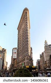 New York City, New York / USA United States - 04 08 2019: Flatiron Building /  the Fuller Building located at 175 Fifth Avenue in the Flatiron District, Manhattan