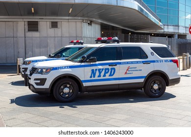 New York City, New York / USA United States - 04 08 2019: NYPD New York Police Department car in Battery Park, Lower Manhattan
