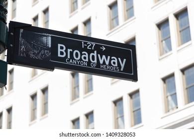New York City / New York , USA United States - 04 08 2019: Broadway sign in New York City, United States.