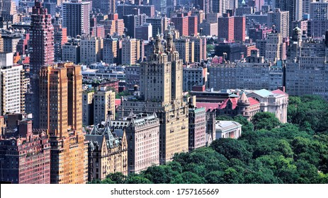New York City, USA - Upper West Side and Central Park aerial view. American city.