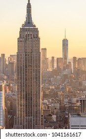 New York City - USA. View to Lower Manhattan downtown skyline with famous Empire State Building and skyscrapers at sunset.