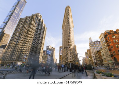 """New York City, USA-April 8, 2017: Flatiron Building has been called """"one of the world's most iconic skyscrapers and a quintessential symbol of New York City""""."""