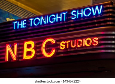 New York City, USA-June 19, 2019: NBC Studios. The Tonight Show on the marquee at NBC Studios, Rockefeller Center. The Tonight Show hosts big-name celebrity guests