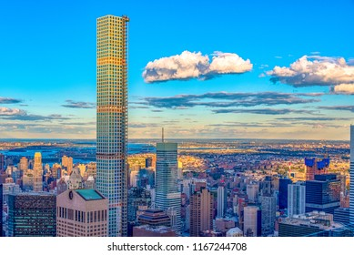 New York City, USA-June 6, 2018: 432 Park Avenue building highlighting the New York city skyline with its majestic height. The area is a tourist attraction