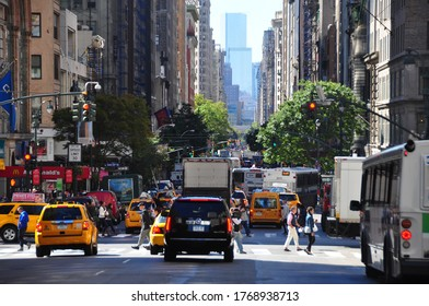 New York City, USA-September 2019; Long shot view over 5th Avenue on a busy summer day in southerly direction at the level of 34th street