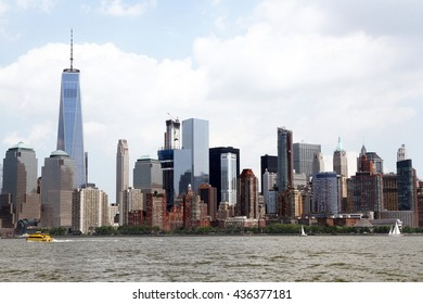 New York City viewed from ferry on Hudson River