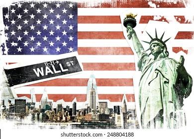 New York City vintage collage, US flag background