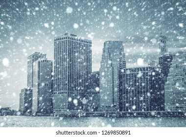New York City. Winter concept. Falling snow in NYC. Winter Manhattan in the snowfall