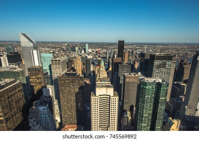New York City. Wonderful panoramic aerial view of Manhattan Midtown Skyscrapers. New York, USA cityscape