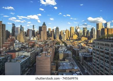 New York City. Wonderful panoramic aerial view of Manhattan Midtown Skyscrapers. New York, USA cityscape