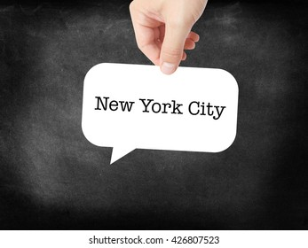 New York City written on a speechbubble