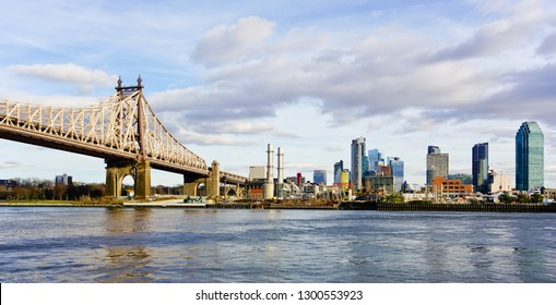 New York city, new York/united states - 1/1/2019: panoramic view of queensboro bridge from Manhattan to Astoria of queens with queens skyline in the background