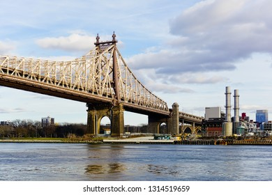 New York city, new York/united states - 1/1/2019: queensboro bridge from Manhattan to Astoria of queens