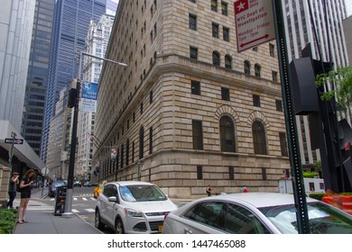 New York City, New York/USA - July 6 2019: Federal Reserve Bank at downtown Manhattan Financial district