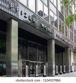 New York City, New York/USA - June 3, 2018: Exterior of Pfizer World Headquarters on 42nd Street in midtown Manhattan. Pfizer is an American multinational pharmaceutical company.