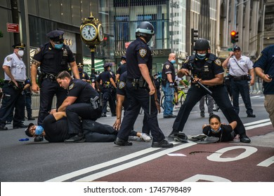 New York City, New York/USA May 30, 2020 Hundreds took to the streets of Manhattan protesting against police brutality after the death of George Floyd at the hands of Minneapolis police.