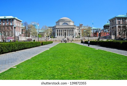 NEW YORK CITY-APRIL 9: Columbia University Library and statue of Alma Mater, New York,NY,on April 9, 2012. It is the oldest institution of higher learning in the state of NY, the 5th oldest in the USA