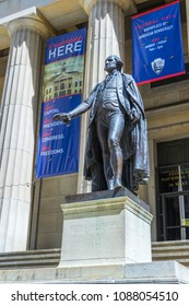 NEW YORK CITY,NY - APRIL 26,2018 : George Washington statue at Federal Hall on April 26,2018 in NYC. Federal Hall was the site of George Washington's inauguration as the first President of USA.