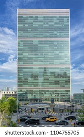New York City,NY,USA on 10th May2018; The United Nations Secretariat building is the official HQ of the UN since its completion in 1952. It is located in the Turtle Bay area of Manhattan New York City