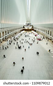 New York City,NY,USA on 10th May 2018;The World Trade Station Hub is composed of a train station with a large and open mezzanine called the Oculus under the towers in the World Trade Center complex