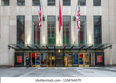 New York City,NY,USA on 12th May2018: Christie's is a British auction house, Christie's has 85 offices in 43 countries with its main US HQ  in the  Rockefeller Center Manhttan in New York City
