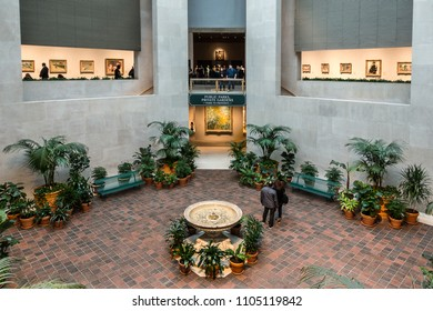 New York City,NY,USA on 13th May2018; The Atrium in the Metropolitan Museum on 5th Avenue in New York City. Exhibition galleries surround the atrium where artist exhibit their paintings and other art
