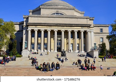 NEW YORK CITY-OCT 27: Columbia University Library and statue of Alma Mater, New York,NY,on Oct 27, 2014. It is the oldest institution of higher learning in the state of NY, the 5th oldest in the USA