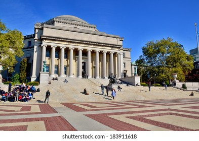 NEW YORK CITY-OCT 27: Columbia University Library and statue of Alma Mater, New York,NY,on Otc 27, 2014. It is the oldest institution of higher learning in the state of NY, the 5th oldest in the USA