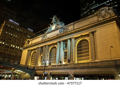 New York City's Grand Central Terminal at night.