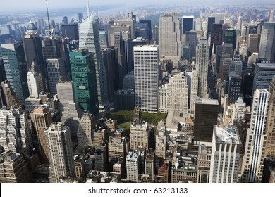 new york cityscape viewed from top of empire state building.