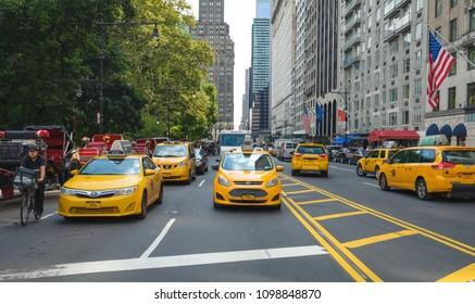 NEW YORK CITY-September 6: Manhattan Street, September 6, 2017 in Manhattan, New York. USA.
