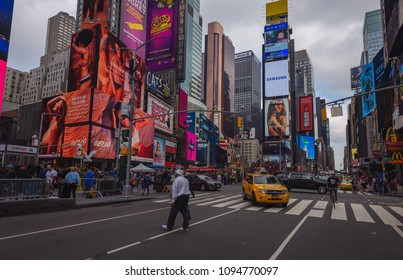 NEW YORK CITY-September 6: Times Square is a busy tourist intersection of neon art and commerce and is an iconic street of New York City and America, September 6, 2017 in Manhattan, New York. USA.