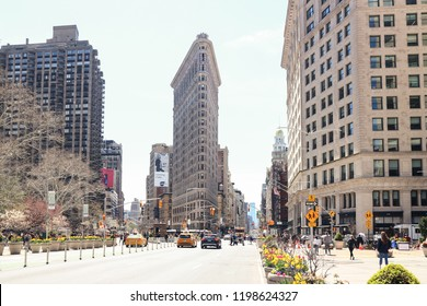 New York City/USA - 04-23-2018: The Flatiron Building, originally the Fuller Building, is a triangular building located at 175 Fifth Avenue in the borough of Manhattan.