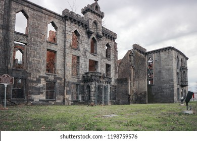 New York City/USA - 04-23-2018: The Smallpox Hospital (also know as the Renwick Smallpox Hospital or the Maternity and Charity Hospital Training School) is an abandoned hospital on Roosevelt Island.